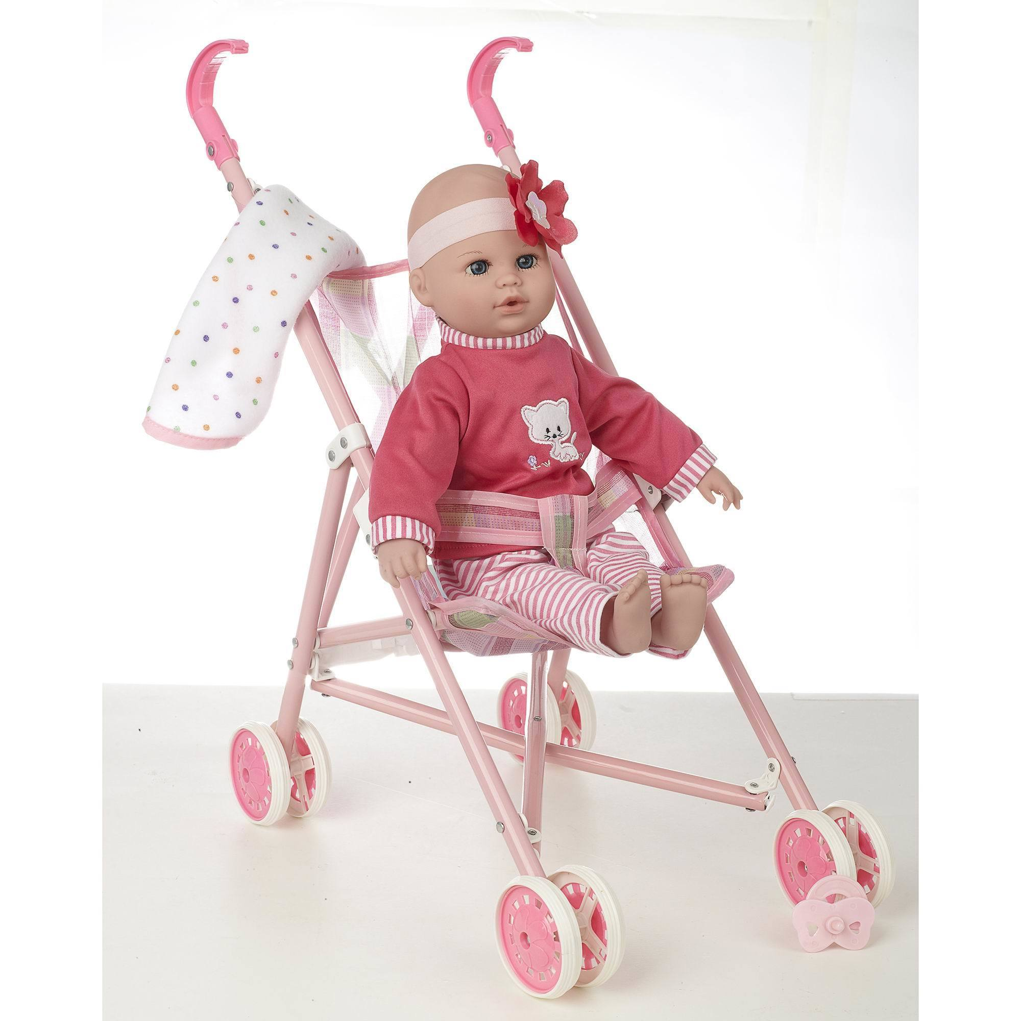 """16"""" Baby Doll and Stroller Set, Multi"""