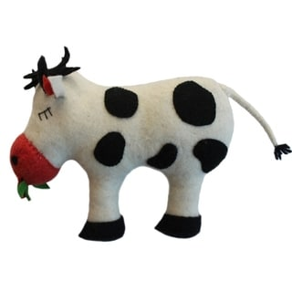 Handmade Felted Friend Cow Design (Kyrgyzstan)