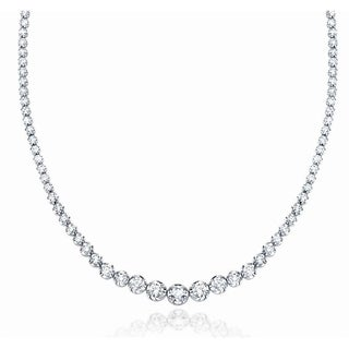 "JewelMore 14K White Gold 17 ""Graduate Diamond Tennis Riviera Necklace(3.00 cttw, H-I Color, I1-I2 Clarity)"