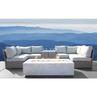 Living Source International Chelsea Grey Wicker 9-piece Cup Table Sectional Fire PIt Set