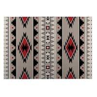Kavka Designs Grey/Red/Black Sedona Indoor/Outdoor Floor Mat (8' X 10')