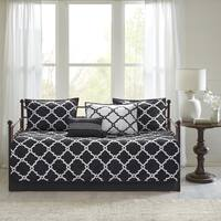 Madison Park Essentials Alameda Chic Black Reversible Fretwork Printed 6 Pieces Daybed Set