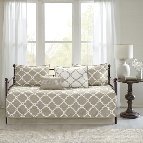 Madison Park Essentials Diablo Chic Taupe Reversible Fretwork Printed 6 Pieces Daybed Set