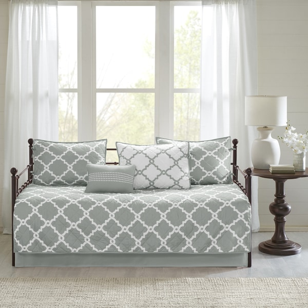 Madison Park Essentials Almaden Chic Grey Reversible Fretwork Printed 6 Pieces Daybed Set