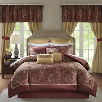 Madison Park Essentials Cadence Red Jacquard Paisley 24 Pieces Room in a Bag - Sheet Set & Window Curtain Included