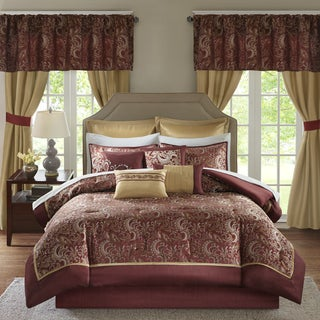 Madison Park Essentials Cadence Red Jacquard Paisley 24 Pieces Room in a Bag - Sheet Set & Window Curtain Included (3 options available)