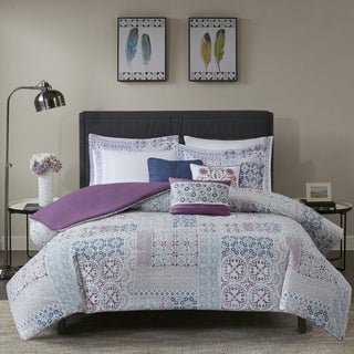 Madison Park Alexandra Berry 8 Pieces Cotton Percale Printed Duvet Cover Set - Filler Not Included