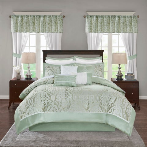 Madison Park Essentials Charley Grey Jacquard Pieced 24 Pieces Room in a Bag - Sheet Set & Window Curtain Included