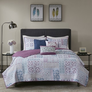 Madison Park Alexandra Berry Printed Medallion 6 Pieces Cotton Percale Coverlet Set