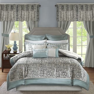 Madison Park Essentials Cadence Teal Jacquard Paisley 24 Pieces Room in a Bag - Sheet Set & Window Curtain Inlcuded|https://ak1.ostkcdn.com/images/products/17038738/P23316104.jpg?impolicy=medium