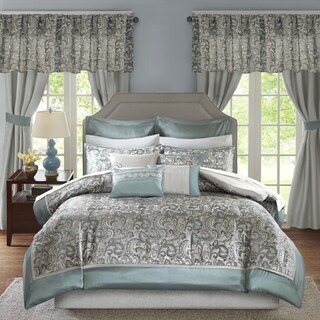Madison Park Essentials Cadence Teal Jacquard Paisley 24 Pieces Room in a Bag - Sheet Set & Window Curtain Inlcuded (3 options available)