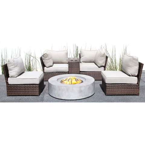 Living Source International Lucca Grey/ Brown Round Fire Pit, Cup Table, and Sectional Set