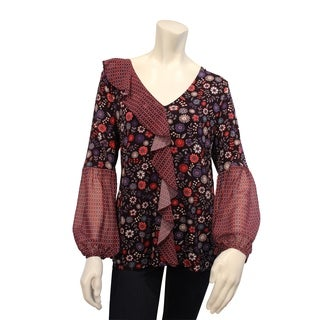 August Silk Printed Cascade Ruffle front Long Sleeve V-Neck blouse
