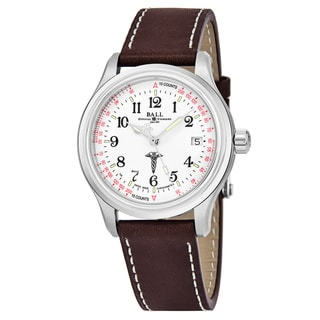 Ball Men's NM1038-L2CJ-WH 'Trainmaster' White Dial Brown Leather Strap Swiss Automatic Watch