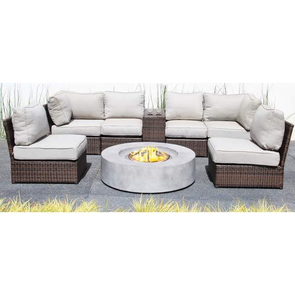 Shop Lucca 8 Piece Cup Table Sectional Fire Pit Set All Weather