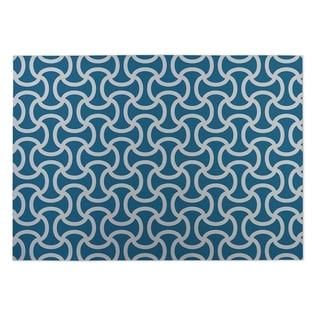 Kavka Designs Blue Loose Thread Indoor/Outdoor Floor Mat (8' X 8')
