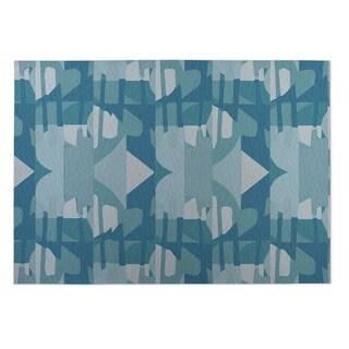 Kavka Designs Blue Fragments Indoor/Outdoor Floor Mat (8' X 8')
