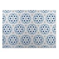 Kavka Designs Blue/White/Grey Jardin Indoor/Outdoor Floor Mat (8' X 8')