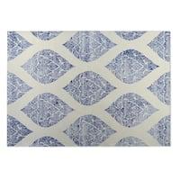 Kavka Designs Ivory/Blue Dancing Damasks Indoor/Outdoor Floor Mat (8' X 8') - 8' x 8'