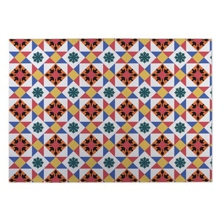 Kavka Designs Red/Gold/Blue Diamond Tiles Indoor/Outdoor Floor Mat (8' X 8')