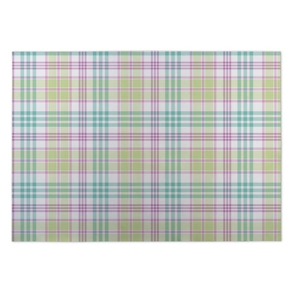 Kavka Designs Green/Purple/Blue Floral Plaid Indoor/Outdoor Floor Mat (8' X 8') - 8' x 8'