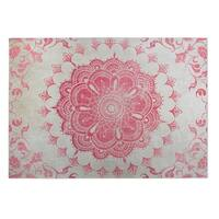 Kavka Designs Ivory/Coral Garland Indoor/Outdoor Floor Mat (8' X 8') - 8' x 8'