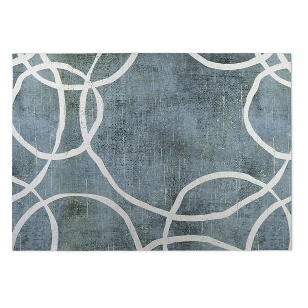 Kavka Designs Blue/Grey Circles Indoor/Outdoor Floor Mat (8' X 8') - 8' x 8'