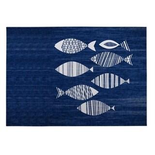 Kavka Designs Blue/Ivory Fish Indoor/Outdoor Floor Mat (8' X 8')