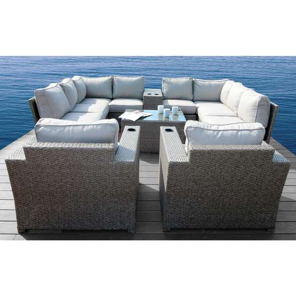 Living Source International Chelsea Grey Wicker and Aluminum 12-piece Conversation Sectional Club Set. Opens flyout.