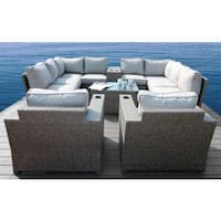 Living Source International Chelsea Grey Wicker and Aluminum 12-piece Conversation Sectional Club Set