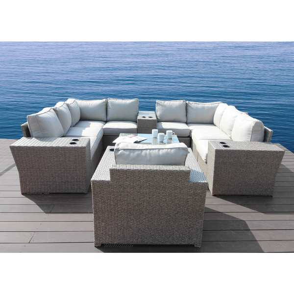 Living Source International Chelsea Grey 13-piece Conversation Set-All Weather Furniture Patio Sofa Set With Back Cushions