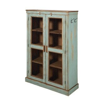 Brooklyn Vintage Vertical Sage Green & Steel Farmhouse Cabinet
