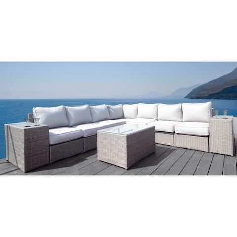 Living Source International Chelsea 10-piece Modular Grey Aluminum/Wicker Sectional Set