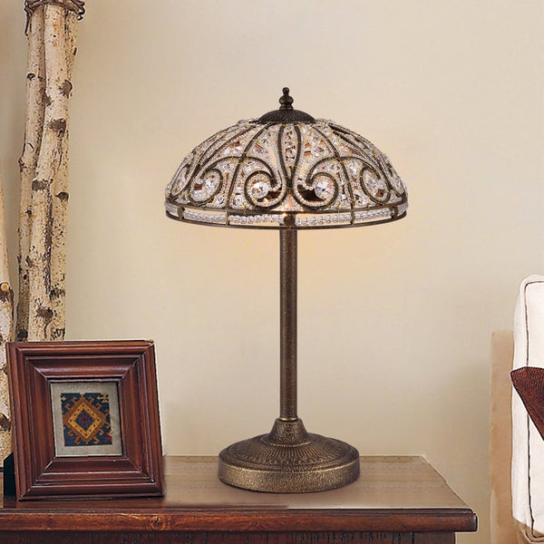 Warehouse of Tiffany Predima Crystal and Scroll Antique Bronze Metal 2-light Table Lamp