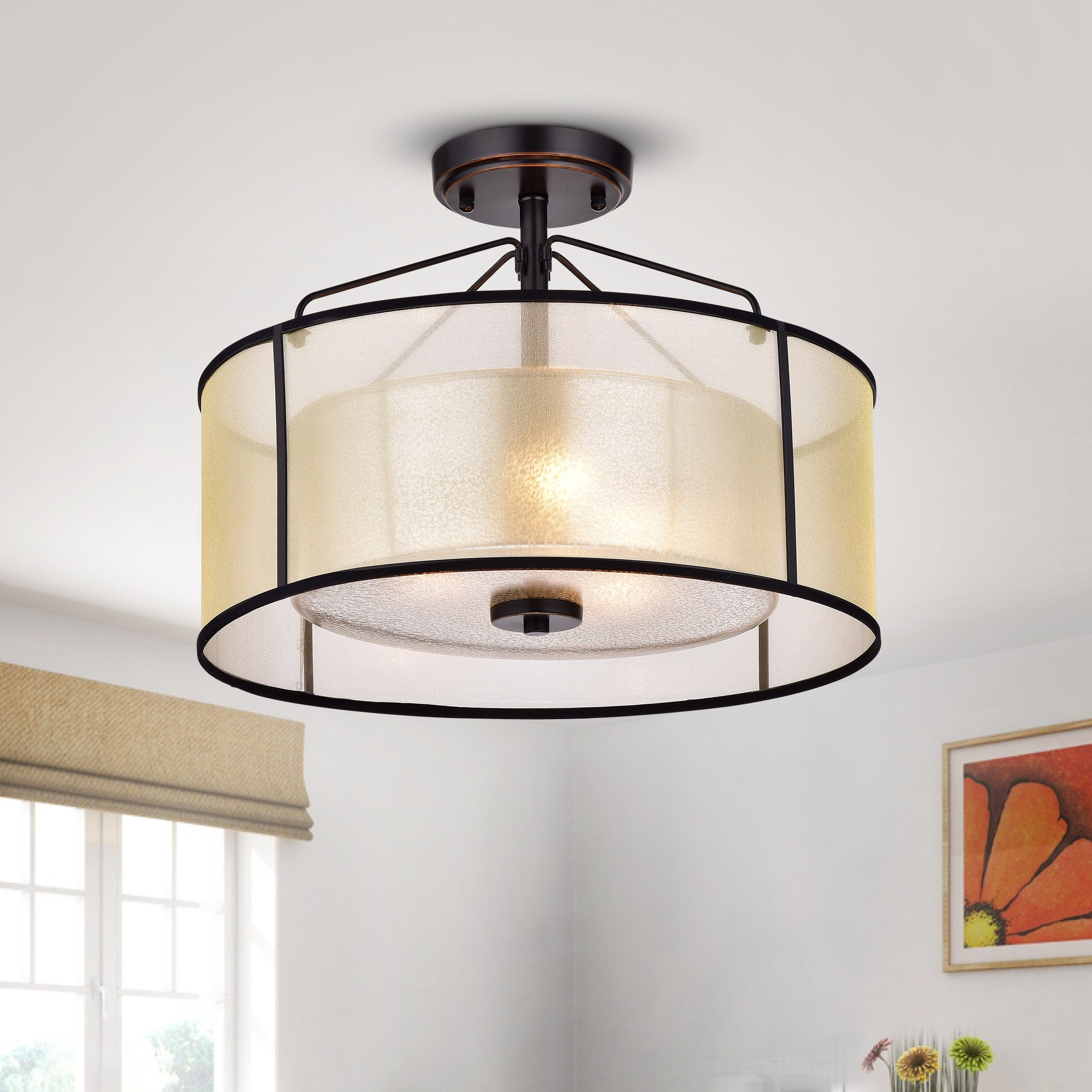 Image of: Shop Black Friday Deals On Warehouse Of Tiffany Darlix 3 Light Oil Rubbed Bronze Metal Glass Fabric Semi Flush Drum Light Overstock 17039669