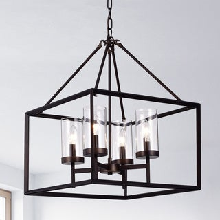 Link to Anson Clear Pillar Glass Antique Bronze 4-light Square Chandelier Similar Items in Chandeliers