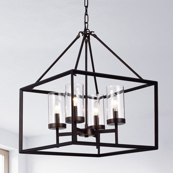 Anson Clear Pillar Gl Antique Bronze 4 Light Square Pendant