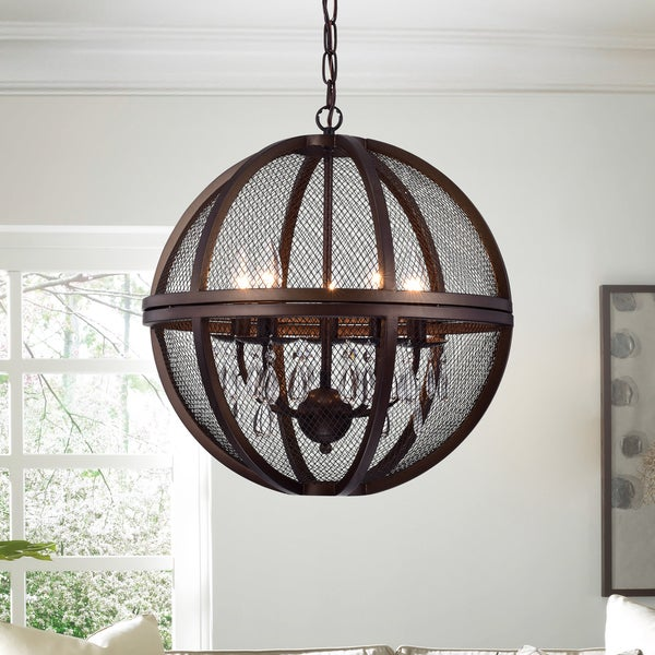 Warehouse Of Tiffany Manin 5 Light Antique Bronze Metal Crystal Caged Globe Pendant