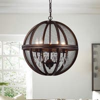 Warehouse of Tiffany Manin 5-light Antique Bronze Metal/Crystal Caged Globe Pendant Light