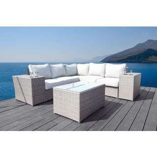 Living Source International Chelsea Wicker 8-piece Sectional with Cup Holder Arms