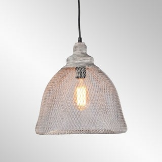 Vancouver Distressed Grey Iron Mesh Large Pendant by Kosas Home