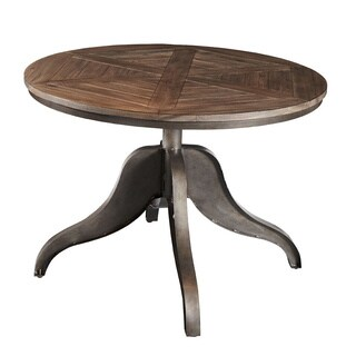 Brooklyn Round Adjustable Height Steel & Oak Round Dining Table - Multi