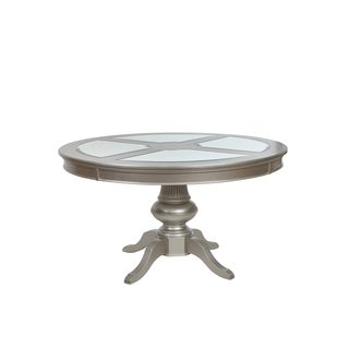 Park Ave Pearlized Platinum Round Dining Table - Silver - N/A