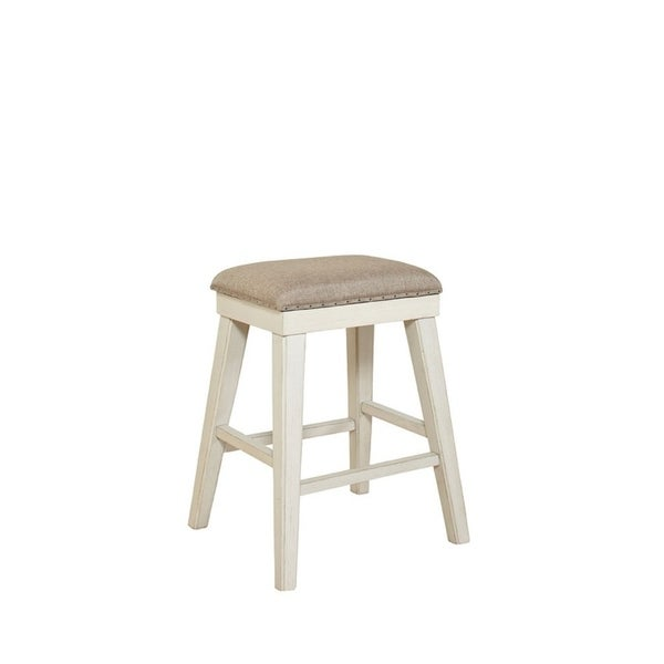 Madeline Brown & Whitewashed Solid Wood Backless Stool