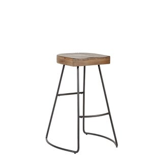 Brooklyn Saddle Seat Steel & Solid Wood Barstool