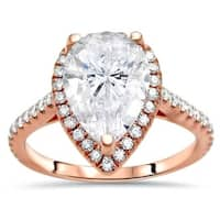 Noori 14k Rose Gold 2 1/10 ct Pear Shape Moissanite Center 1/3ct Diamond Surrounding Engagement Ring 10x7mm