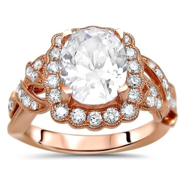 Noori 14k Rose Gold 2 1/10 ct Oval Moissanite Center 1/2ct Diamond Surrounding Engagement Ring 9x7mm