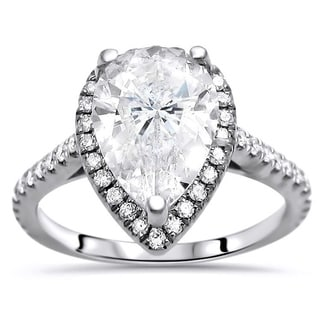 Noori 14k White Gold 2 2/5 ct Pear Shape Moissanite Diamond Engagement Ring 10x7mm