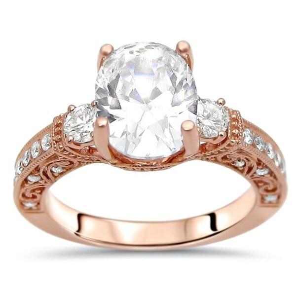 Noori 14k Rose Gold 2 3/5 ct Oval Moissanite 3 Stone Diamond Engagement Ring 9x7mm