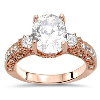 Noori 14k Rose Gold 2 3/5 ct Oval Moissanite 3 Stone Diamond Engagement Ring 9x7mm
